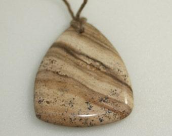 Gemstone Focal Pendant, Jasper, 45x38 mm