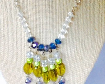 Four Color Crystal Pendant Necklace