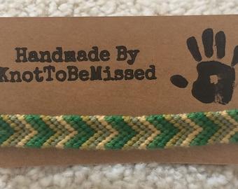 Handmade Chevron Shaped Friendship Bracelet Woodland Green