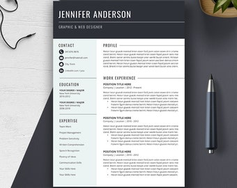 Professional Resume Template, Cover Letter, Word, US Letter, A4, CV Template, Creative, Modern, Simple Resume, Instant Download, JENNIFER