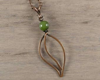 Elvish Necklace , Elven Leaf Pendant , Aged Copper Leaf , Green Jade Leaf , Jade Leaf Pendant , Leaf Necklace , Copper Necklace