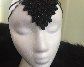 Black Beaded Headpiece