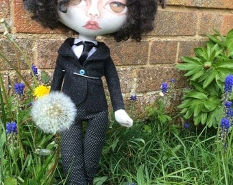 Homage to Charlie Chaplin OOAK handmade cloth art doll