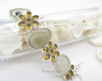 Rutilated Quartz and Citrine Sterling Silver Bracelet