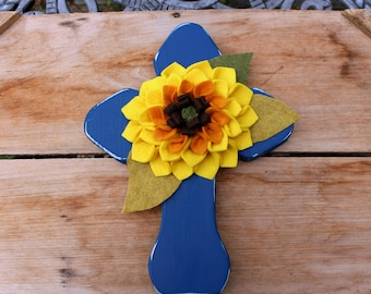 Wood Wall Cross, Fall Decor, Wooden Cross, Autumn Decor, Sunflower, Blue Cross, Rustic Cross, Religious Wall Decor, Blue and yellow, Flower