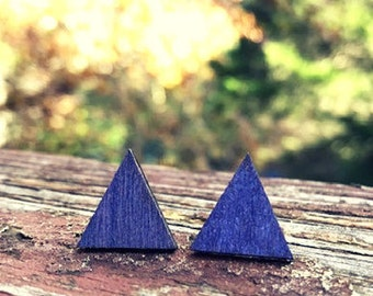 Purple Triangle Wood nickel-free earrings - 17mm