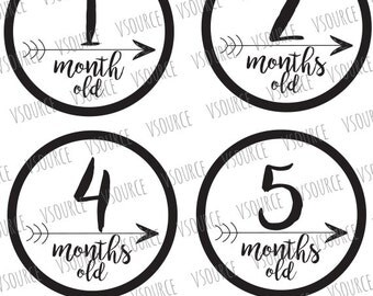 Svg - Baby Month Stickers - Baby Monthly Stickers - Baby Month Stickers Boy - Baby Month Stickers Girl - Baby Month Signs