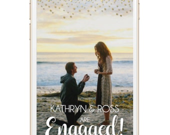 Engagement Party Snapchat Geofilter - Engaged, Gold
