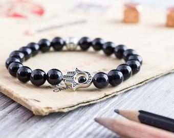 8mm - Black onyx beaded stretchy silver Hamsa hand bracelet, custom made yoga bracelet, mens bracelet,  womens bracelet, black bead bracelet