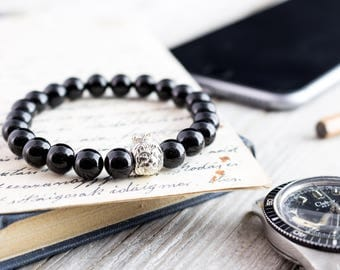 8mm - Black onyx beaded bracelet with 925 sterling silver Lion with crown, stretchy bracelet made to order yoga bracelet, white bead