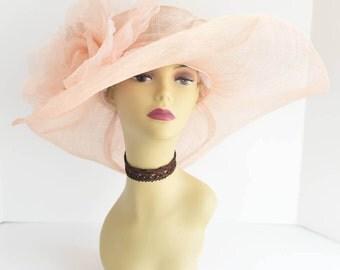 509 ( Peach ) High Quality NEW Kentucky Derby, Church, Wedding, Tea Party Sinamay Jumbo Silk Flower Wide Brim Dress Hat