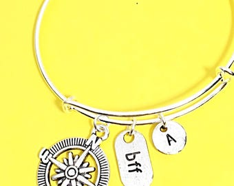 Personalized Distance Friendship Bangle Bracelet Gift For Best Friend Custom Initial Friendship Jewelry Gift BFF Birthday Gift