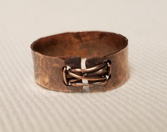 Rustic Hammered Copper Ring