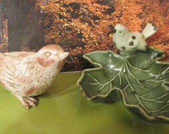 Birds-Ceramic--Creative Co -Op  Trinket Dish  AND Resin Bird-Decorative