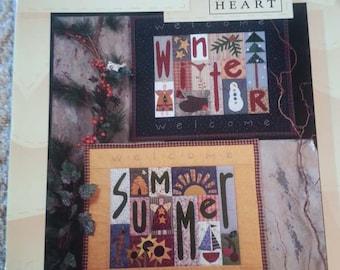 In Season by Nancy Halvorsen - Art to Heart - Seasonal Primitive Quilt Applique Pattern book - Pillows - Stitchery