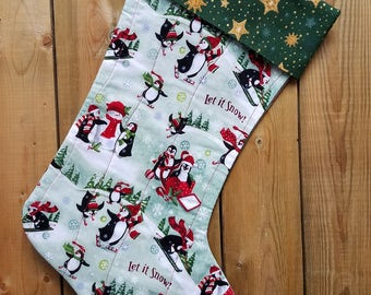 Penguins Quilted Christmas Stocking
