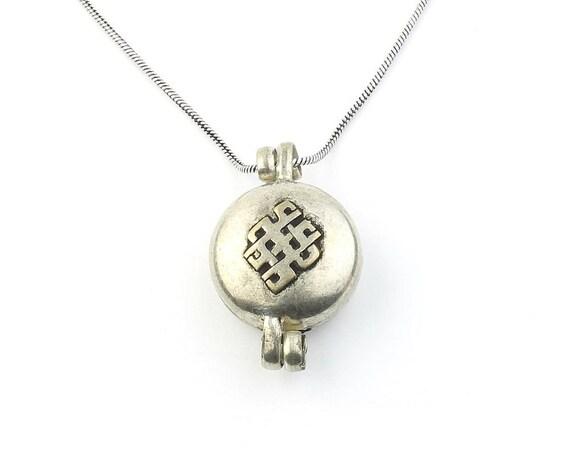 Tibetan Poison Necklace, Secret Compartment, Locket, Endless Knot, Om Necklace, Yoga, Festival Jewelry, Boho, Gypsy, Hippie, Spiritual