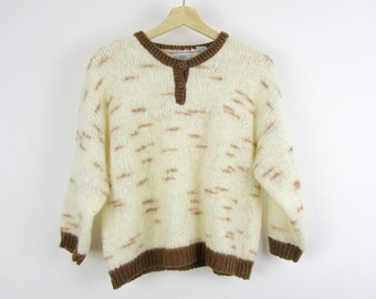 Vintage Cream Sweater / 80s 90s Ivory Off White Brown Cropped Boxy / Small S Medium M