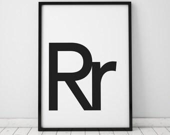 Rr Letter Print, Initial Wall Art, Scandinavian Art, Scandinavian Poster, Initial Poster Rr Letter Poster, Rr Letter Print, INSTANT DOWNLOAD