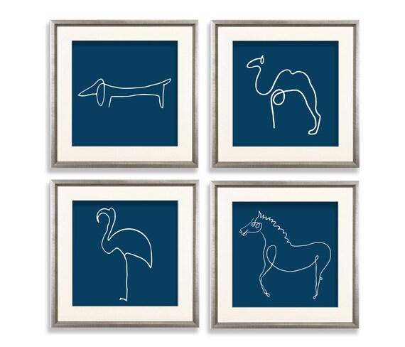 Picasso Tiere drucken Satz Picasso Kamel Flamingo Pferd Hund