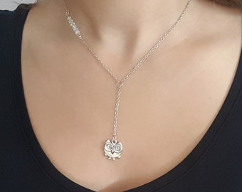 Silver necklace silver plated swarovski crystal Owl pendant