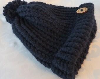 Small Hand Knit Toque / Navy Toque / Navy Blue Hand Knit Hat / Winter Hat / Warm Hat / Chunky Knit Toque / Toddler-Child Hat - SHat105