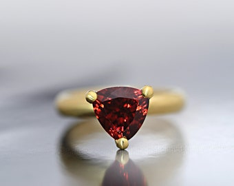 Garnet Ring-9ct Yellow Gold Garnet Engagement Ring-January Birthstone Ring-Ready to Ship