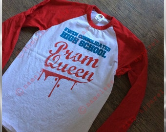 Carrie - Prom Queen - Stephen Kings 1st novel comes to life -  Nameless City Apparel brings this very cool shirt to a baseball tee!