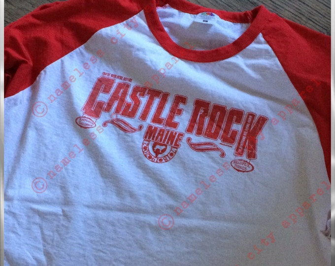 Castle Rock Stories - Long Sleeve Baseball Tee - Nameless City Apparel  brings our awesome Stephen King tee to a new dimension!