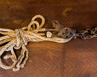 Antique Cast Iron Block and Tackle Pulley with Original Rope Pat. Mar. 21, 1905