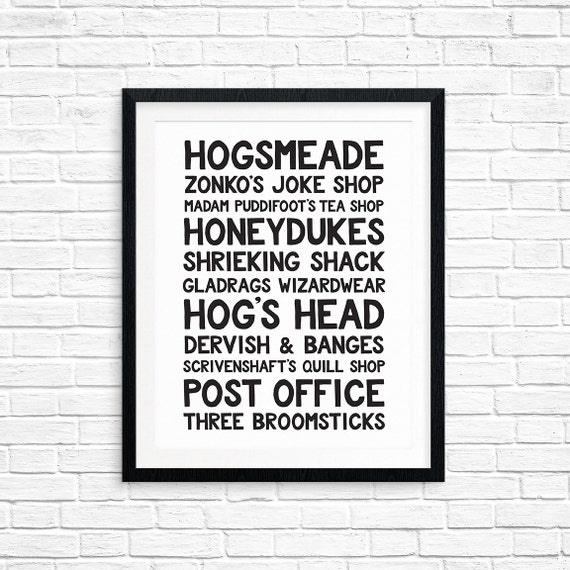 Printable Art, Hogsmeade, Harry Potter, Wizarding World Locations, Book Quote, Typography Art Prints, Digital Download Print