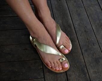 Ancient Greek Premium Leather Gold Leaf Sandals, Gold Toe-ring Sandals, Slingback Sandals, Greek sandals ''Delia''