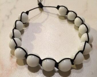 Handmade bracelet, Glass beads bracelet, Charm bracelet, White beads bracelet, Gift for her, Handmade jewelry