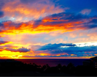 Maui Sunset Print, Hawaii Photography, Fine Art Print, Colorful Sunset, Pacific Ocean, Travel Photography, Hawaiian Island  - Wailea Sunset