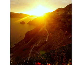 Santorini Sunset Print, Greece Photography, Oia, Greek Islands, Fine Art, Large Wall Prints, Neutral Decor, Brown, Gold  - Caldera Sunset