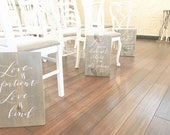 1 Corinthians 13 Wooden Signs . Set of 6 . 11x18in . Love is patient . Love is kind . hand lettered signs . wedding signs . aisle signs