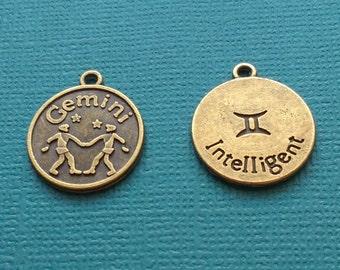 1 Gemini Zodiac Charm Bronze - CB2602