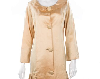 Vintage gold drop waist satin evening coat/dress size M