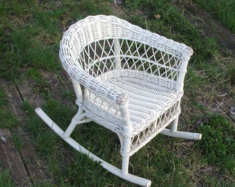 Child rocking chair, rattan of the years 60/70