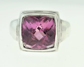 Vintage Square Cut Pink Topaz Ring- Sterling Silver
