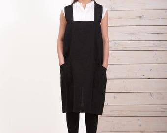 Linen Pinafore Apron -  Womens linen apron - Black apron - Crossback apron - Square cross apron - Japanese style apron - Hand made apron