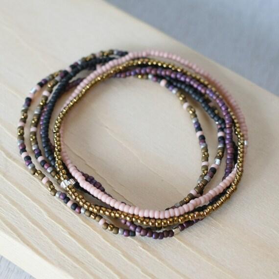 6 small bead bracelets stretch cord bracelets tiny bead