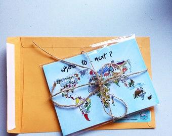 Travel Postcard Set, World Travel Postcards 4 x 6 Art Print, Apartment Decor, Travel Prints, Wanderlust, Travel gifts