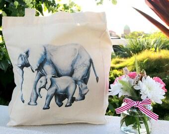 Calico Tote Bag // Elephants Watercolour