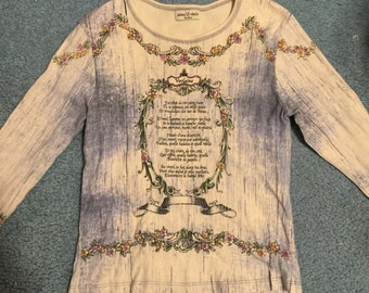 90s floral french poetry top