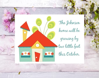 pregnancy announcement baby announcement house announcement cards two feet baby on the way pregnant family announcement growing family