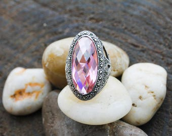 Sterling Silver 925 Pink Stone Statement Piece Ring Size 6