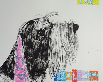 Mars the Italian Spinone Dog, original drawing on paper
