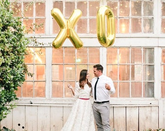 """XO Letter Balloons   40"""" Gold Letter Balloons   Metallic Letter Balloons   Gold Party Decorations"""