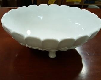 Milk Glass Fruit bowl, footed bowl, vintage milk glass, collector milk glass, milk glass bowl, milk glass server,